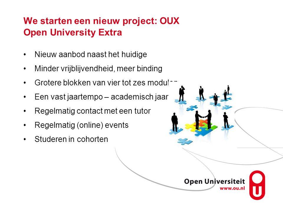 We starten een nieuw project: OUX Open University Extra Nieuw aanbod naast het huidige Minder vrijblijvendheid, meer binding Grotere blokken van vier