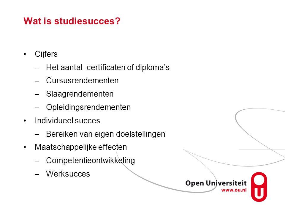 Wat is studiesucces? Cijfers –Het aantal certificaten of diploma's –Cursusrendementen –Slaagrendementen –Opleidingsrendementen Individueel succes –Ber