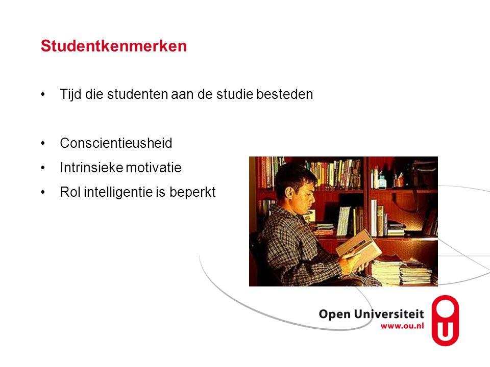 Studentkenmerken Tijd die studenten aan de studie besteden Conscientieusheid Intrinsieke motivatie Rol intelligentie is beperkt
