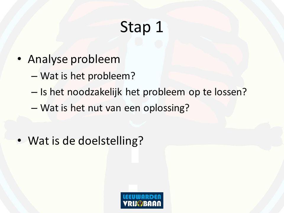 Stap 1 Analyse probleem – Wat is het probleem? – Is het noodzakelijk het probleem op te lossen? – Wat is het nut van een oplossing? Wat is de doelstel