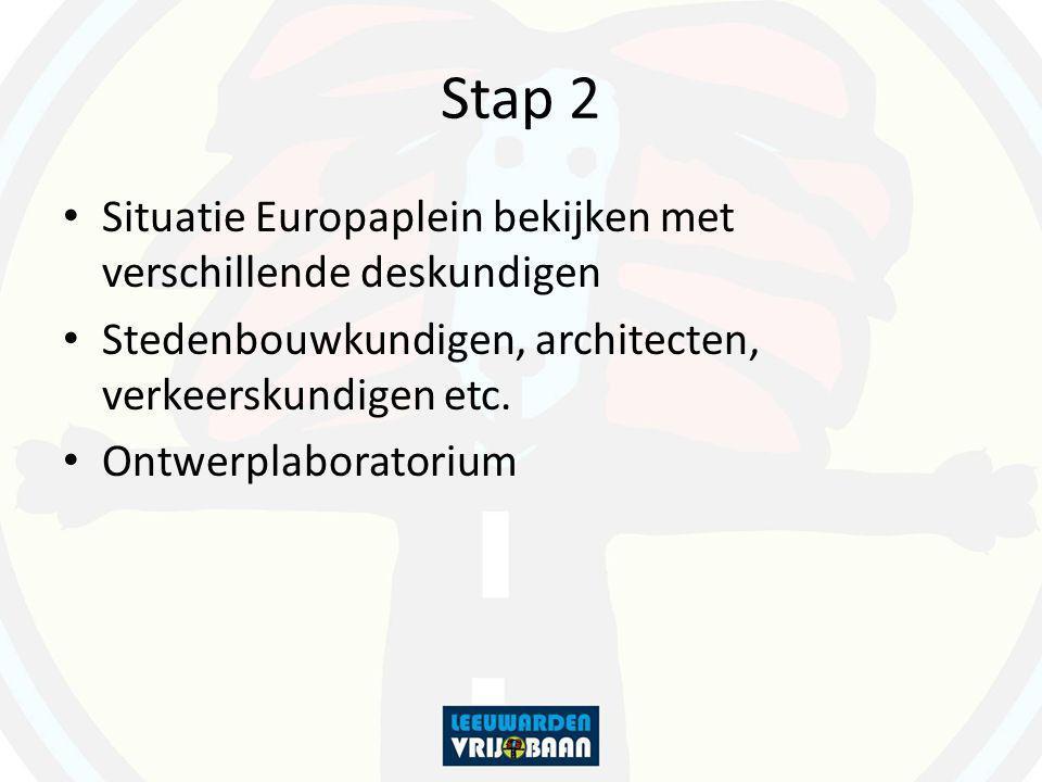 Stap 2 Situatie Europaplein bekijken met verschillende deskundigen Stedenbouwkundigen, architecten, verkeerskundigen etc.