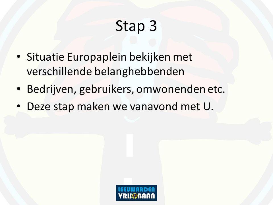Stap 3 Situatie Europaplein bekijken met verschillende belanghebbenden Bedrijven, gebruikers, omwonenden etc. Deze stap maken we vanavond met U.