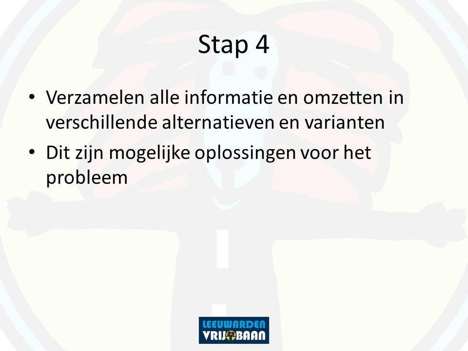 Stap 4 Verzamelen alle informatie en omzetten in verschillende alternatieven en varianten Dit zijn mogelijke oplossingen voor het probleem