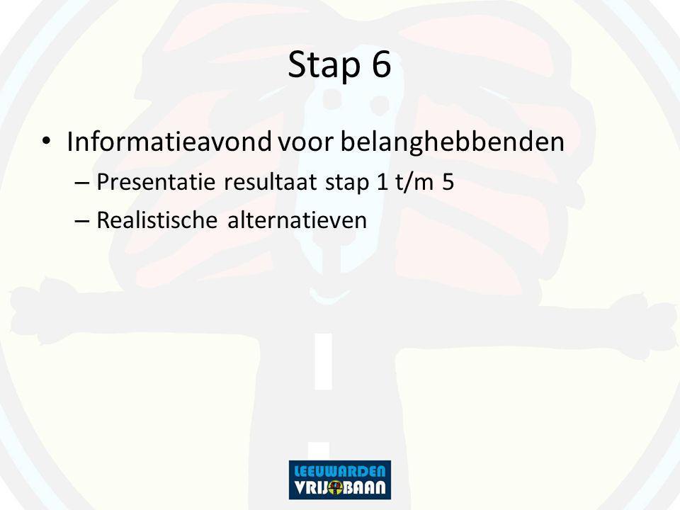 Stap 6 Informatieavond voor belanghebbenden – Presentatie resultaat stap 1 t/m 5 – Realistische alternatieven