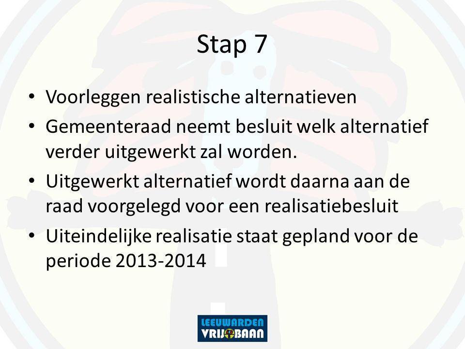 Stap 7 Voorleggen realistische alternatieven Gemeenteraad neemt besluit welk alternatief verder uitgewerkt zal worden. Uitgewerkt alternatief wordt da