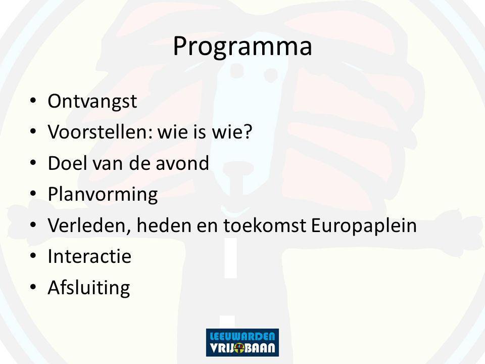 Programma Ontvangst Voorstellen: wie is wie? Doel van de avond Planvorming Verleden, heden en toekomst Europaplein Interactie Afsluiting