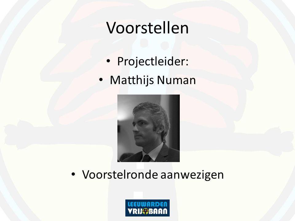 Voorstellen Projectleider: Matthijs Numan Voorstelronde aanwezigen