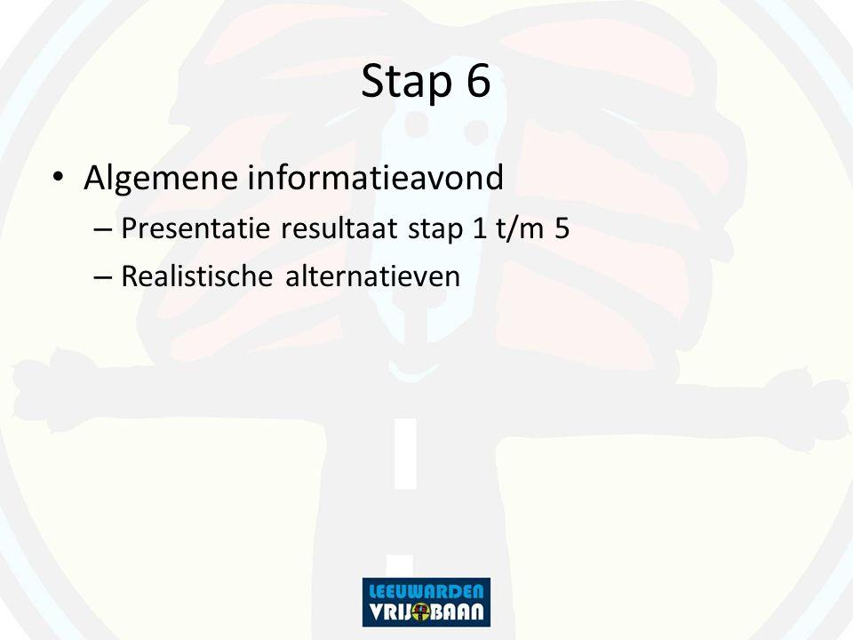 Stap 6 Algemene informatieavond – Presentatie resultaat stap 1 t/m 5 – Realistische alternatieven