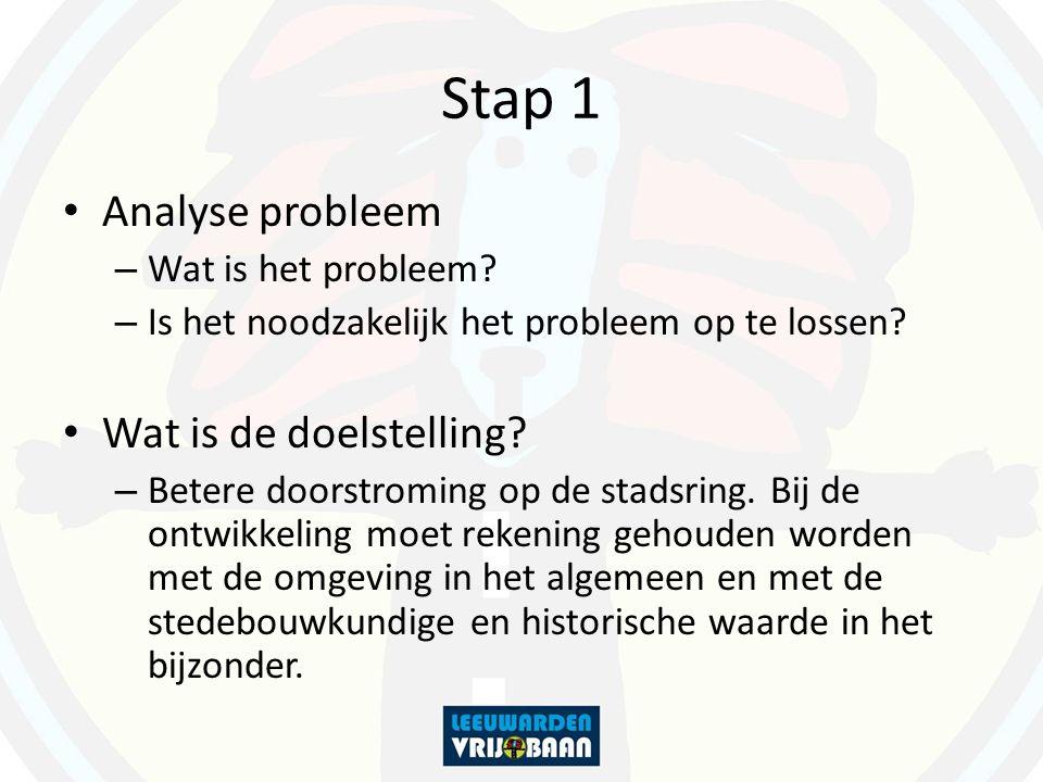 Stap 1 Analyse probleem – Wat is het probleem? – Is het noodzakelijk het probleem op te lossen? Wat is de doelstelling? – Betere doorstroming op de st