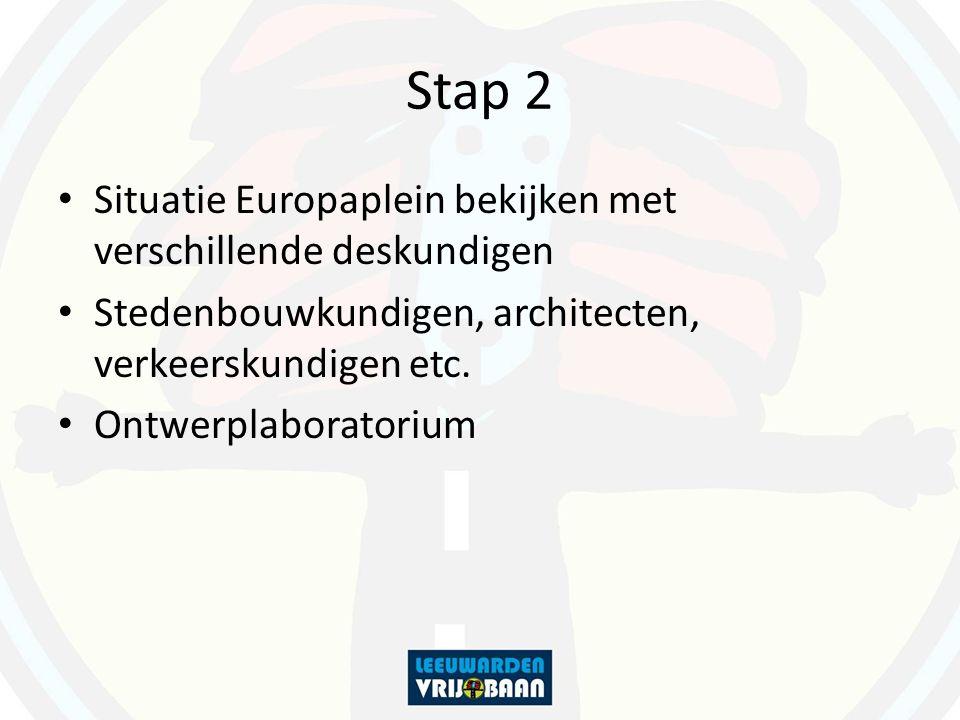Stap 2 Situatie Europaplein bekijken met verschillende deskundigen Stedenbouwkundigen, architecten, verkeerskundigen etc. Ontwerplaboratorium