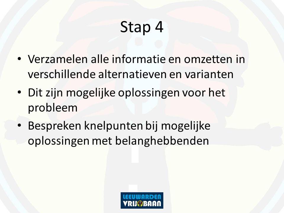 Stap 4 Verzamelen alle informatie en omzetten in verschillende alternatieven en varianten Dit zijn mogelijke oplossingen voor het probleem Bespreken k