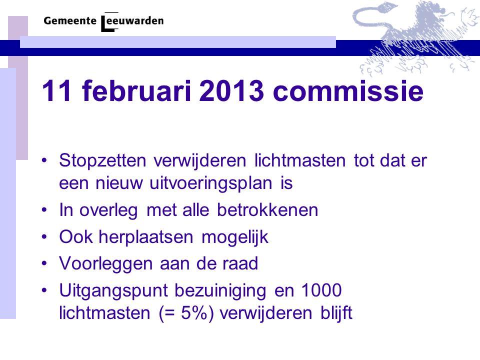 11 februari 2013 commissie Stopzetten verwijderen lichtmasten tot dat er een nieuw uitvoeringsplan is In overleg met alle betrokkenen Ook herplaatsen mogelijk Voorleggen aan de raad Uitgangspunt bezuiniging en 1000 lichtmasten (= 5%) verwijderen blijft