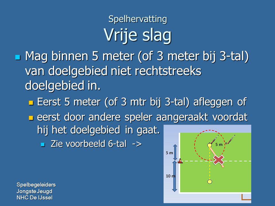 Spelhervatting Vrije slag Mag binnen 5 meter (of 3 meter bij 3-tal) van doelgebied niet rechtstreeks doelgebied in.