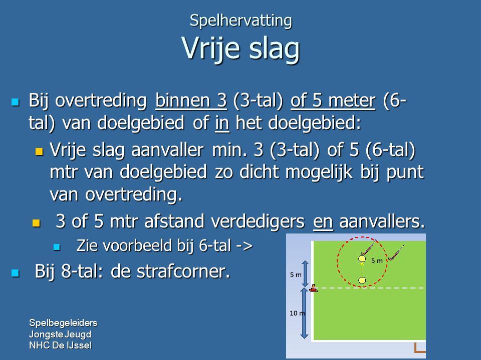 Spelhervatting Vrije slag Bij overtreding binnen 3 (3-tal) of 5 meter (6- tal) van doelgebied of in het doelgebied: Bij overtreding binnen 3 (3-tal) of 5 meter (6- tal) van doelgebied of in het doelgebied: Vrije slag aanvaller min.