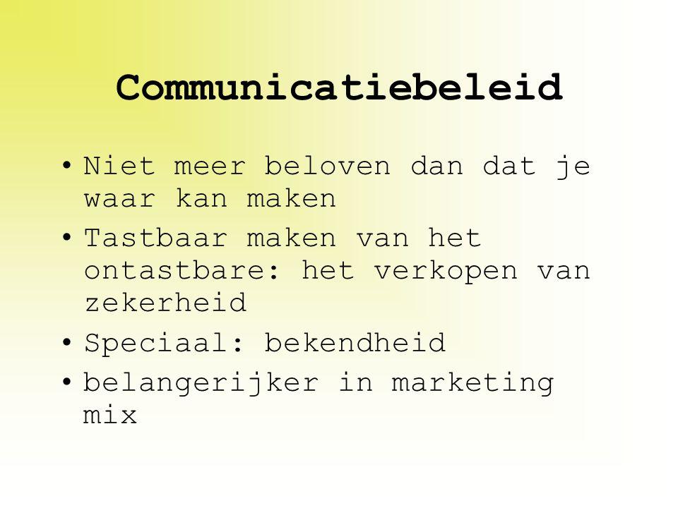 Communicatiebeleid Niet meer beloven dan dat je waar kan maken Tastbaar maken van het ontastbare: het verkopen van zekerheid Speciaal: bekendheid bela