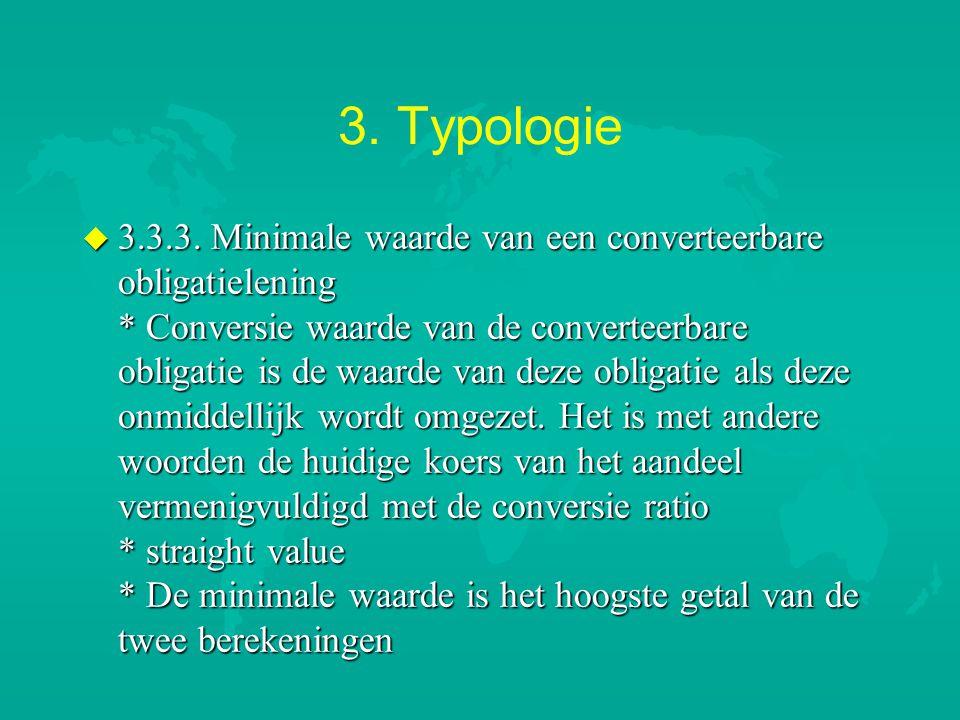 3. Typologie u 3.3.3. Minimale waarde van een converteerbare obligatielening * Conversie waarde van de converteerbare obligatie is de waarde van deze
