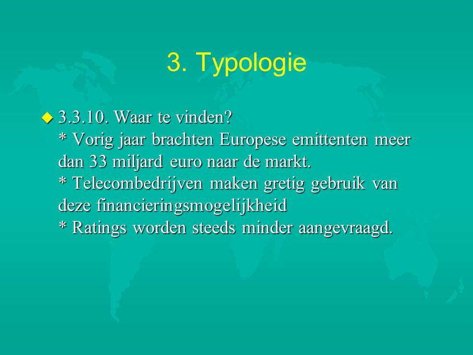 3. Typologie u 3.3.10. Waar te vinden? * Vorig jaar brachten Europese emittenten meer dan 33 miljard euro naar de markt. * Telecombedrijven maken gret