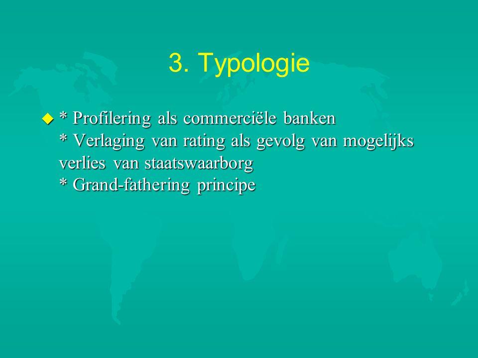 3. Typologie u * Profilering als commerciële banken * Verlaging van rating als gevolg van mogelijks verlies van staatswaarborg * Grand-fathering princ