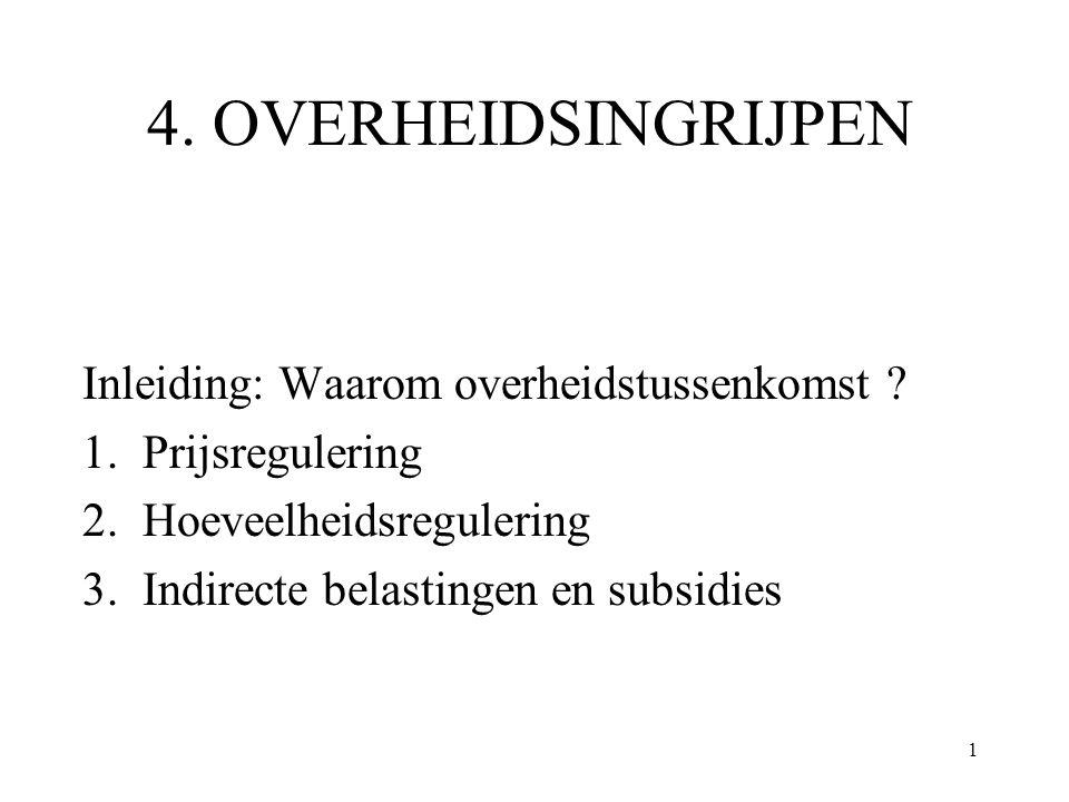 1 4. OVERHEIDSINGRIJPEN Inleiding: Waarom overheidstussenkomst ? 1. Prijsregulering 2. Hoeveelheidsregulering 3. Indirecte belastingen en subsidies