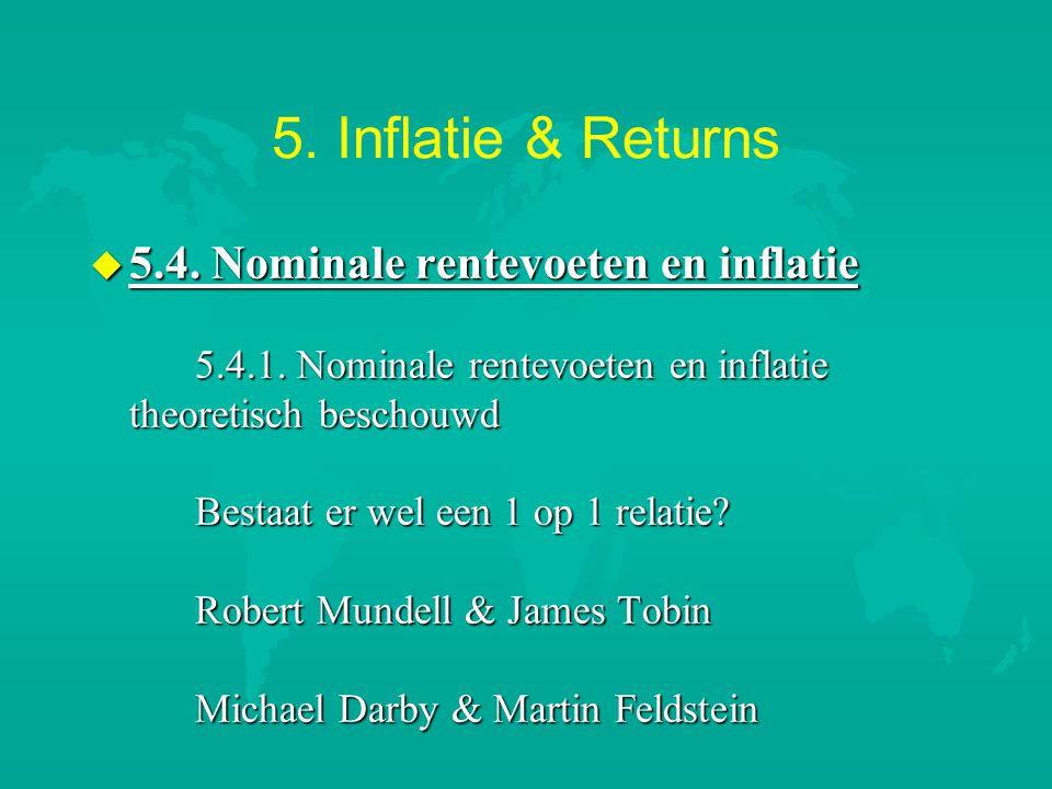 5. Inflatie & Returns u 5.4. Nominale rentevoeten en inflatie 5.4.1. Nominale rentevoeten en inflatie theoretisch beschouwd Bestaat er wel een 1 op 1
