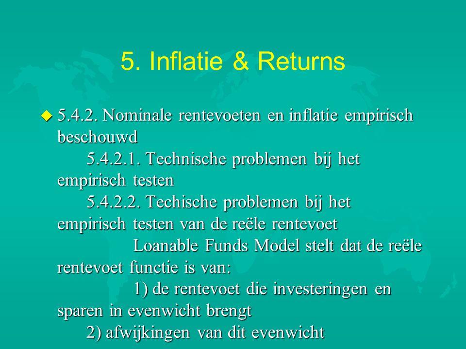 5. Inflatie & Returns u 5.4.2. Nominale rentevoeten en inflatie empirisch beschouwd 5.4.2.1. Technische problemen bij het empirisch testen 5.4.2.2. Te