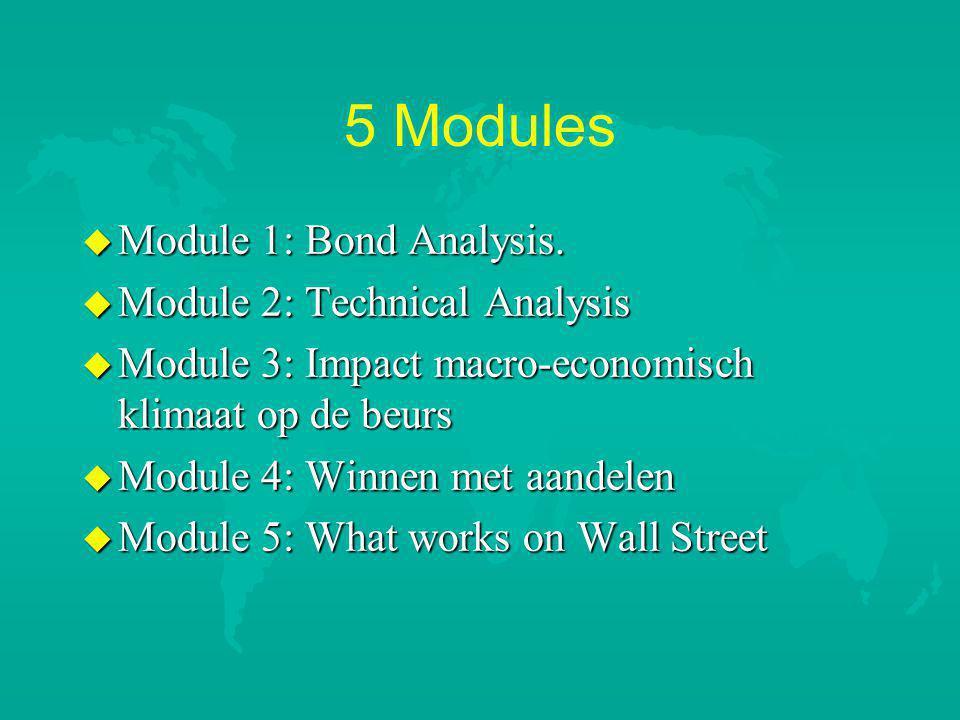5 Modules u Module 1: Bond Analysis.