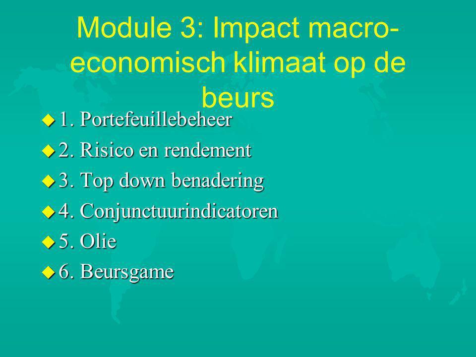 Module 3: Impact macro- economisch klimaat op de beurs u 1.