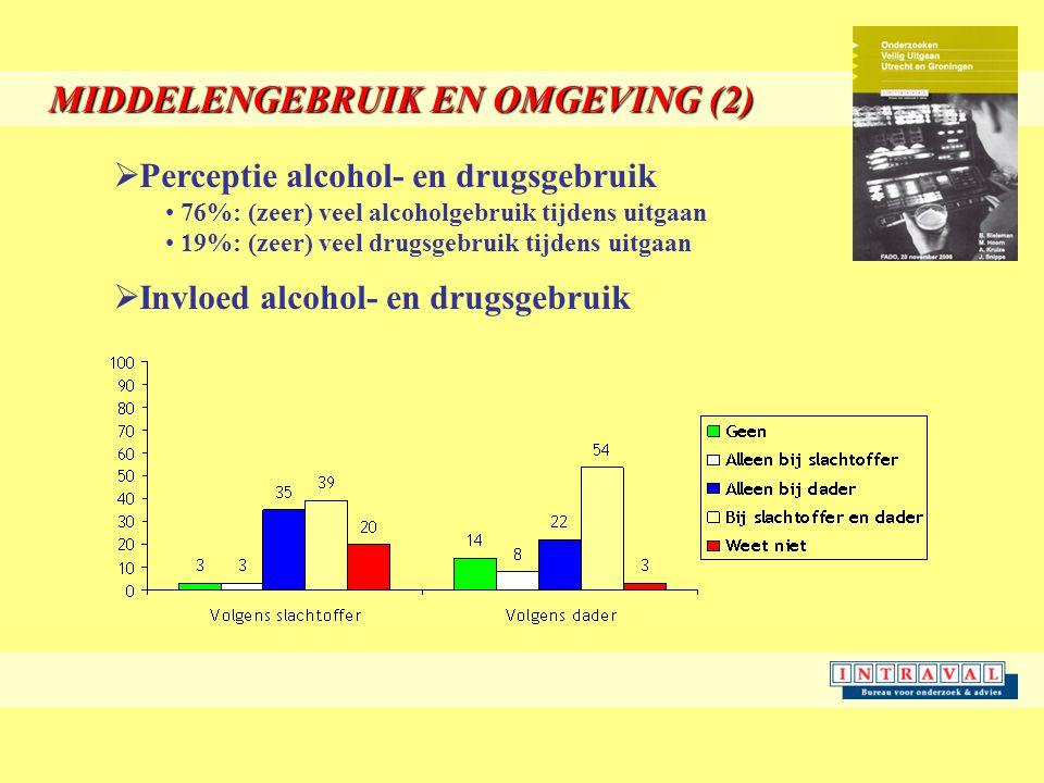 MIDDELENGEBRUIK EN OMGEVING (2)  Perceptie alcohol- en drugsgebruik 76%: (zeer) veel alcoholgebruik tijdens uitgaan 19%: (zeer) veel drugsgebruik tijdens uitgaan  Invloed alcohol- en drugsgebruik