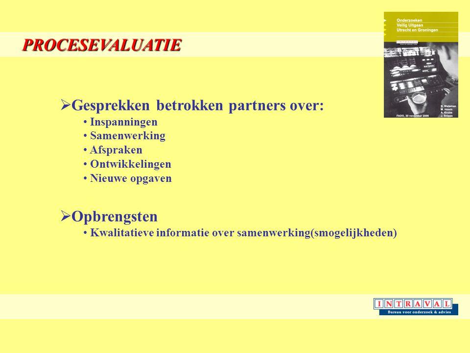 PROCESEVALUATIE  Gesprekken betrokken partners over: Inspanningen Samenwerking Afspraken Ontwikkelingen Nieuwe opgaven  Opbrengsten Kwalitatieve informatie over samenwerking(smogelijkheden)