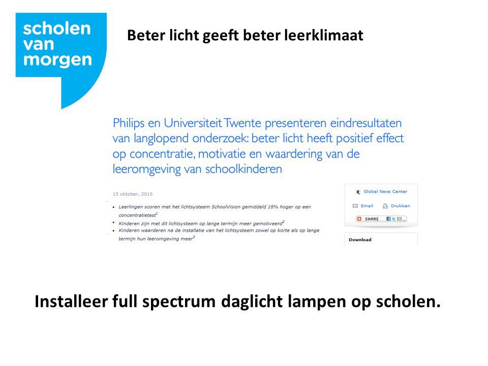 Beter licht geeft beter leerklimaat Installeer full spectrum daglicht lampen op scholen.
