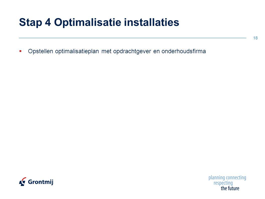  Opstellen optimalisatieplan met opdrachtgever en onderhoudsfirma Stap 4 Optimalisatie installaties 18