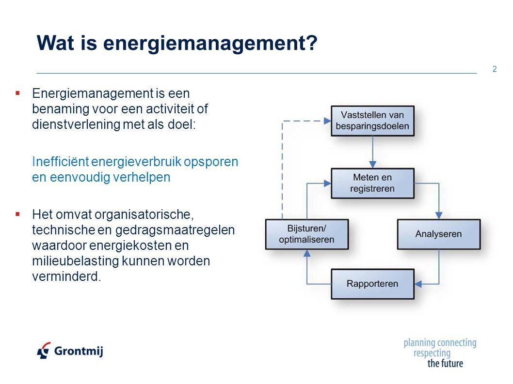 3 De feiten…  Volgens het EU-actieplan ligt het grootste besparingspotentieel in europa in bestaande gebouwen: 27 tot 30% tot 2020 [Europese Commissie]  In 95% van de Nederlandse utiliteitsgebouwen kunnen de energiekosten door energiebeheer/-zorg, zonder noemenswaardige investeringen gereduceerd worden  Gemiddeld 23 % besparing op jaarlijks gasverbruik [Novem]  80% van de oorzaken van niet goed werkende installaties kan worden gevonden in restpunten, onderhoud, beheer en gebruikersgedrag [TNO]  Wanneer energiemanagement goed wordt toegepast kan een besparing in energiekosten van 5 – 15% worden bereikt [Agentschap NL]