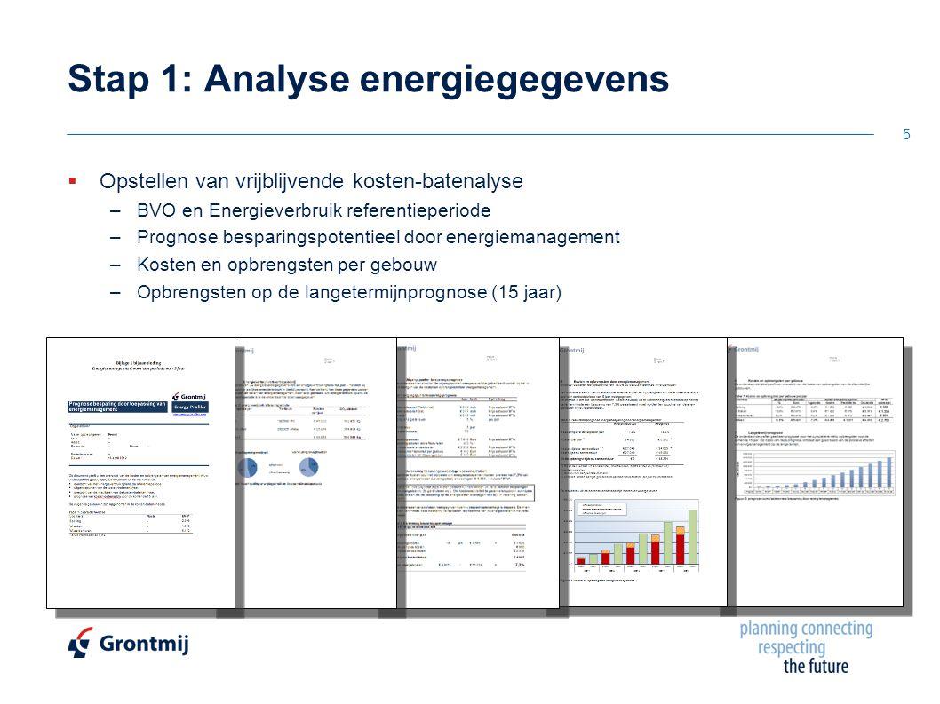  Opstellen van vrijblijvende kosten-batenalyse –BVO en Energieverbruik referentieperiode –Prognose besparingspotentieel door energiemanagement –Kosten en opbrengsten per gebouw –Opbrengsten op de langetermijnprognose (15 jaar) Stap 1: Analyse energiegegevens 5