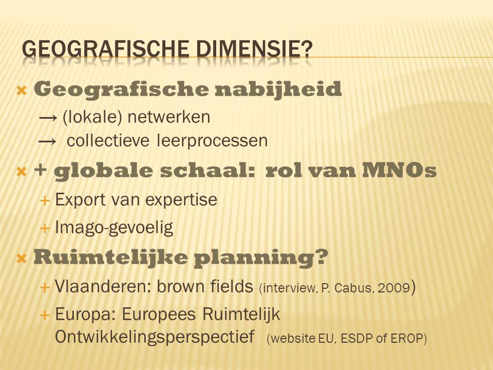  Geografische nabijheid → (lokale) netwerken → collectieve leerprocessen  + globale schaal: rol van MNOs  Export van expertise  Imago-gevoelig  Ruimtelijke planning.