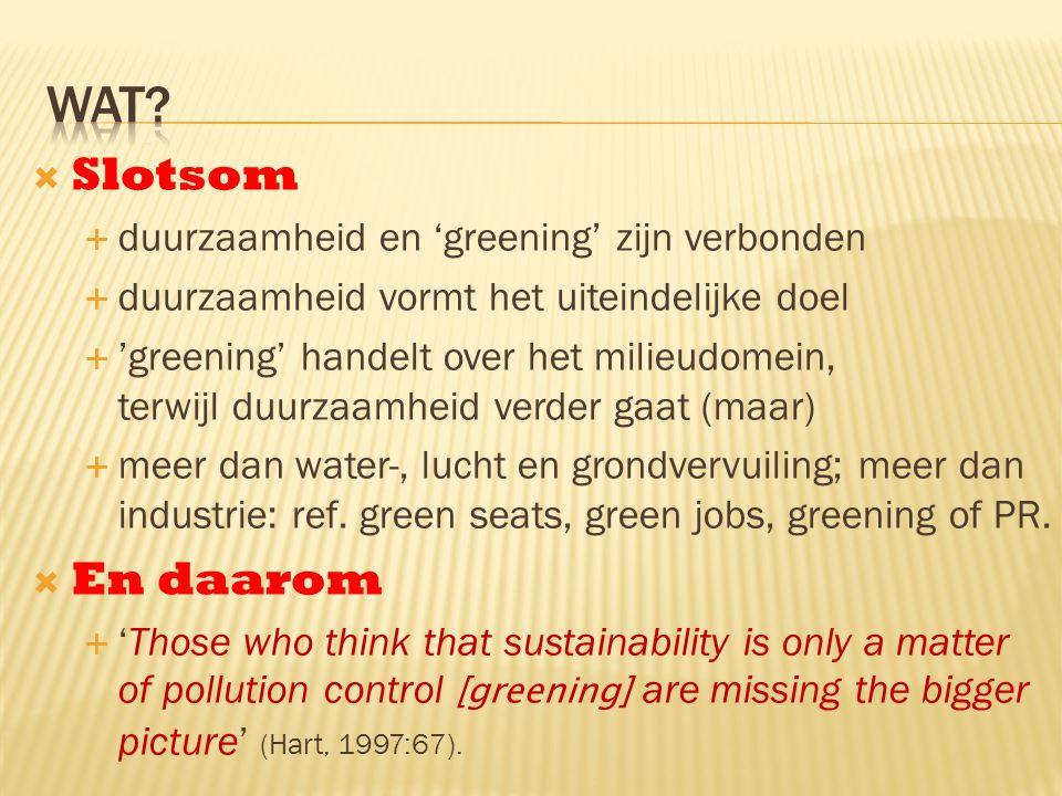  Slotsom  duurzaamheid en 'greening' zijn verbonden  duurzaamheid vormt het uiteindelijke doel  'greening' handelt over het milieudomein, terwijl duurzaamheid verder gaat (maar)  meer dan water-, lucht en grondvervuiling; meer dan industrie: ref.