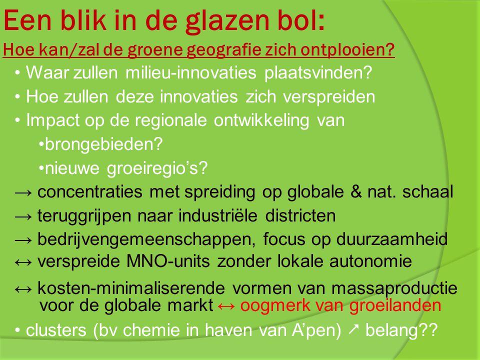 Een blik in de glazen bol: Hoe kan/zal de groene geografie zich ontplooien? Waar zullen milieu-innovaties plaatsvinden? Hoe zullen deze innovaties zic