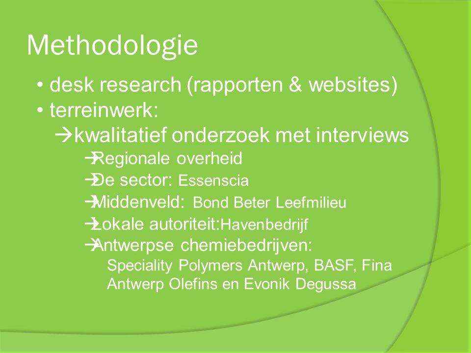 Methodologie desk research (rapporten & websites) terreinwerk:  kwalitatief onderzoek met interviews  Regionale overheid  De sector : Essenscia  M