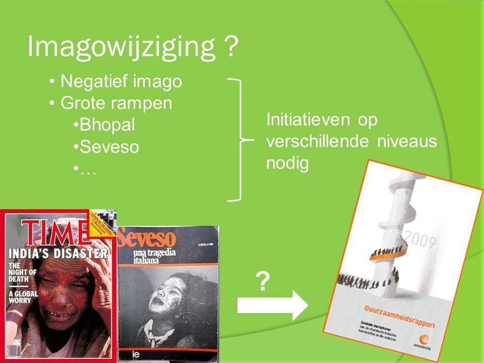 Imagowijziging ? Negatief imago Grote rampen Bhopal Seveso … ? Initiatieven op verschillende niveaus nodig