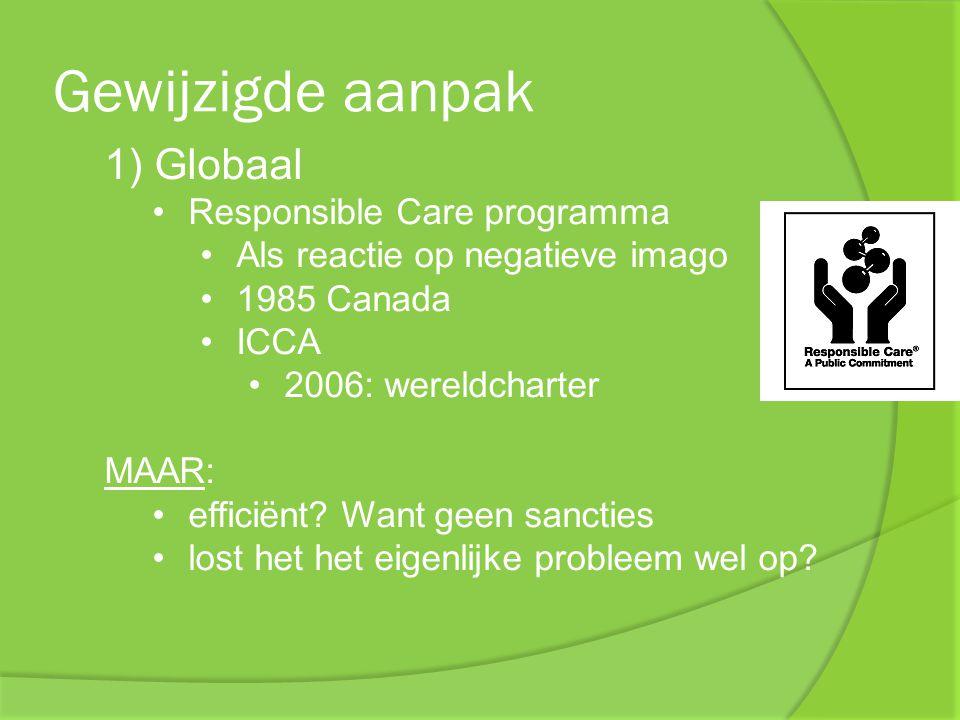 Gewijzigde aanpak 1) Globaal Responsible Care programma Als reactie op negatieve imago 1985 Canada ICCA 2006: wereldcharter MAAR: efficiënt? Want geen