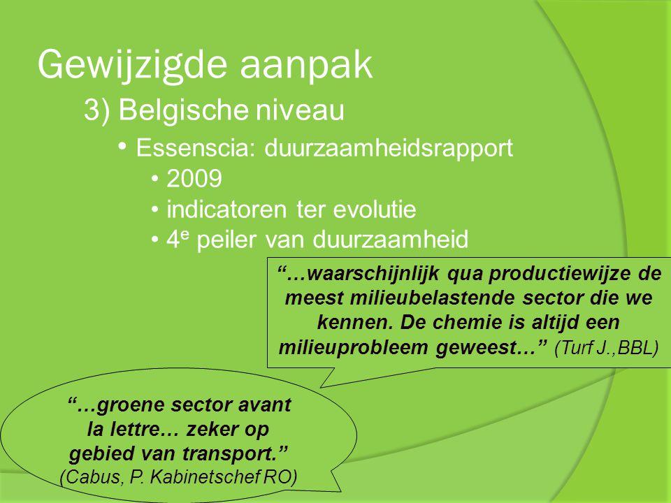 """Gewijzigde aanpak 3) Belgische niveau Essenscia: duurzaamheidsrapport 2009 indicatoren ter evolutie 4 e peiler van duurzaamheid """"…groene sector avant"""