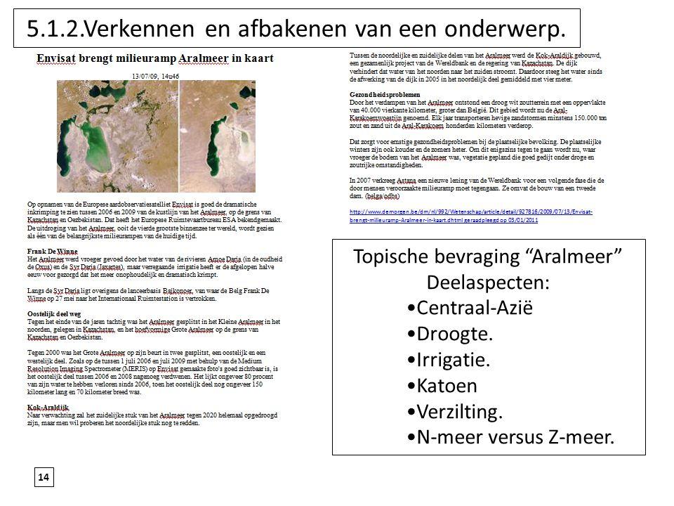 """14 5.1.2.Verkennen en afbakenen van een onderwerp. Topische bevraging """"Aralmeer"""" Deelaspecten: Centraal-Azië Droogte. Irrigatie. Katoen Verzilting. N-"""