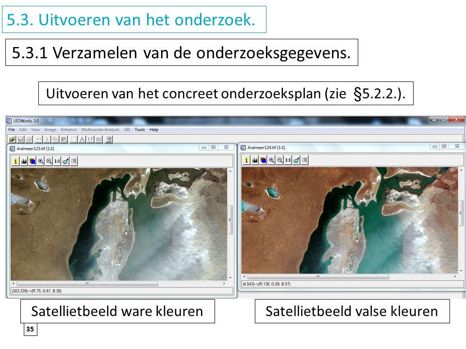 35 5.3. Uitvoeren van het onderzoek. 5.3.1 Verzamelen van de onderzoeksgegevens. Uitvoeren van het concreet onderzoeksplan (zie §5.2.2.). Satellietbee