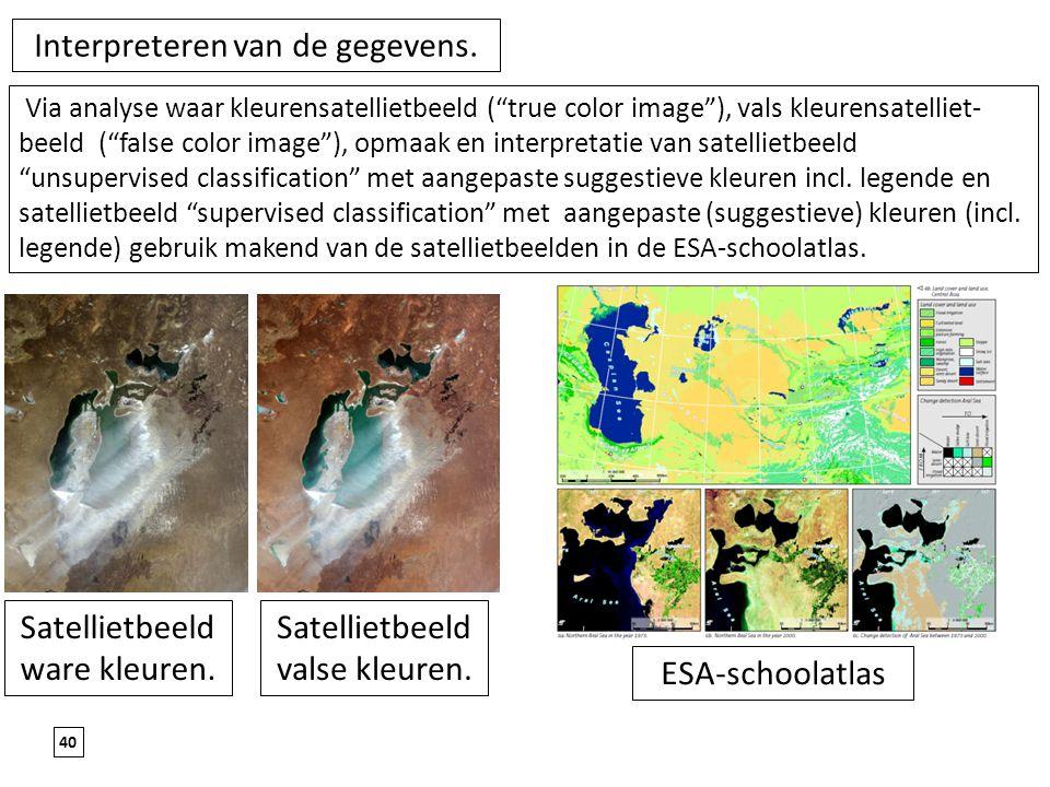 """40 Interpreteren van de gegevens. Satellietbeeld ware kleuren. Satellietbeeld valse kleuren. Via analyse waar kleurensatellietbeeld (""""true color image"""