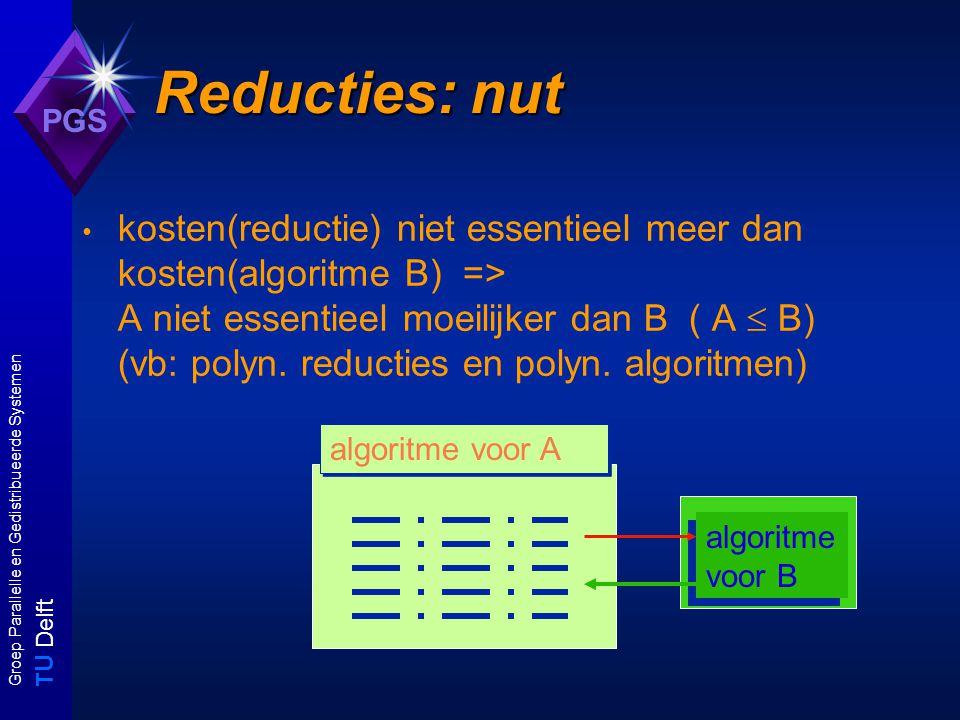 T U Delft Groep Parallelle en Gedistribueerde Systemen PGS Reducties: nut kosten(reductie) niet essentieel meer dan kosten(algoritme B) => A niet essentieel moeilijker dan B ( A  B) (vb: polyn.