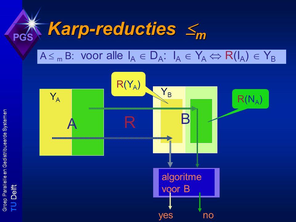 T U Delft Groep Parallelle en Gedistribueerde Systemen PGS YBYB Karp-reducties  m B R A YAYA A  m B: voor alle I A  D A : I A  Y A  R(I A )  Y B algoritme voor B yesno R(N A ) R(Y A )
