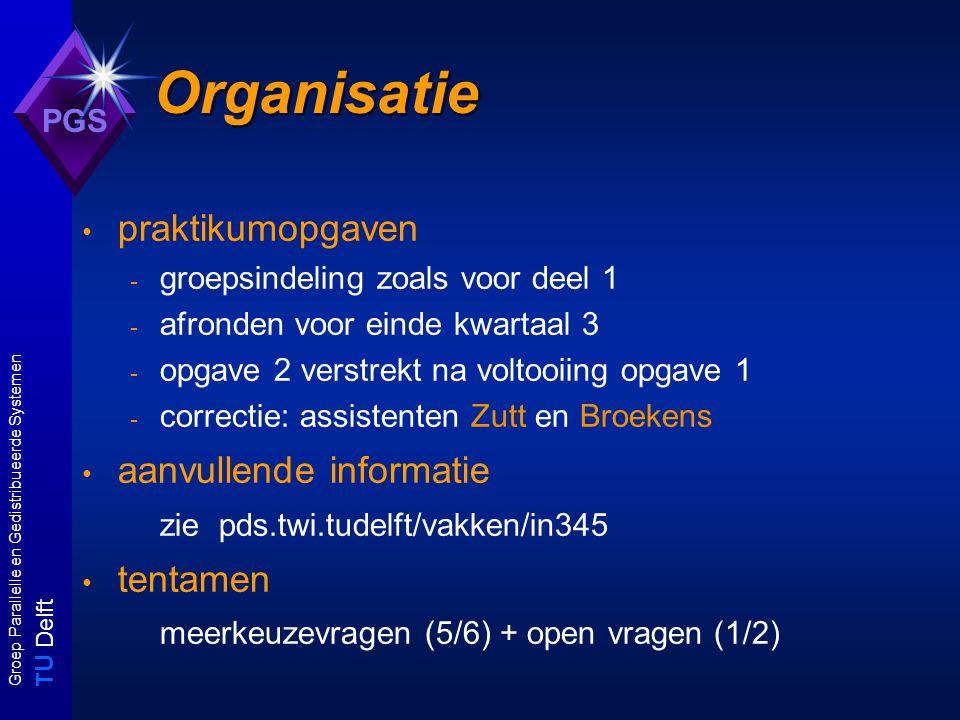 T U Delft Groep Parallelle en Gedistribueerde Systemen PGS Onderwerpen (1) Inleiding Complexiteitstheorie: - doenlijke, ondoenlijke en onoplosbare problemen - reductietechnieken - complexiteitsklassen - complete problemen, hierarchie-stellingen