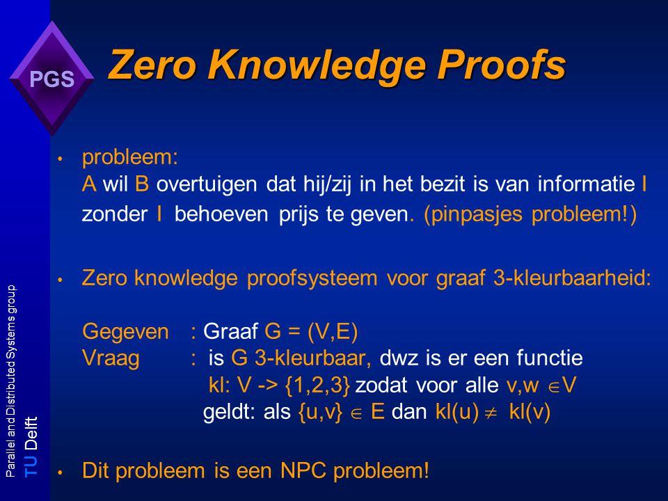 T U Delft Parallel and Distributed Systems group PGS Zero Knowledge Proofs probleem: A wil B overtuigen dat hij/zij in het bezit is van informatie I zonder I behoeven prijs te geven.