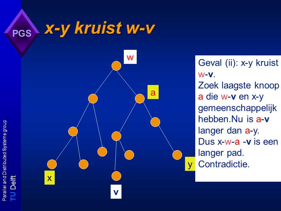 T U Delft Parallel and Distributed Systems group PGS x-y kruist w-v v x y w Geval (ii): x-y kruist w-v. Zoek laagste knoop a die w-v en x-y gemeenscha