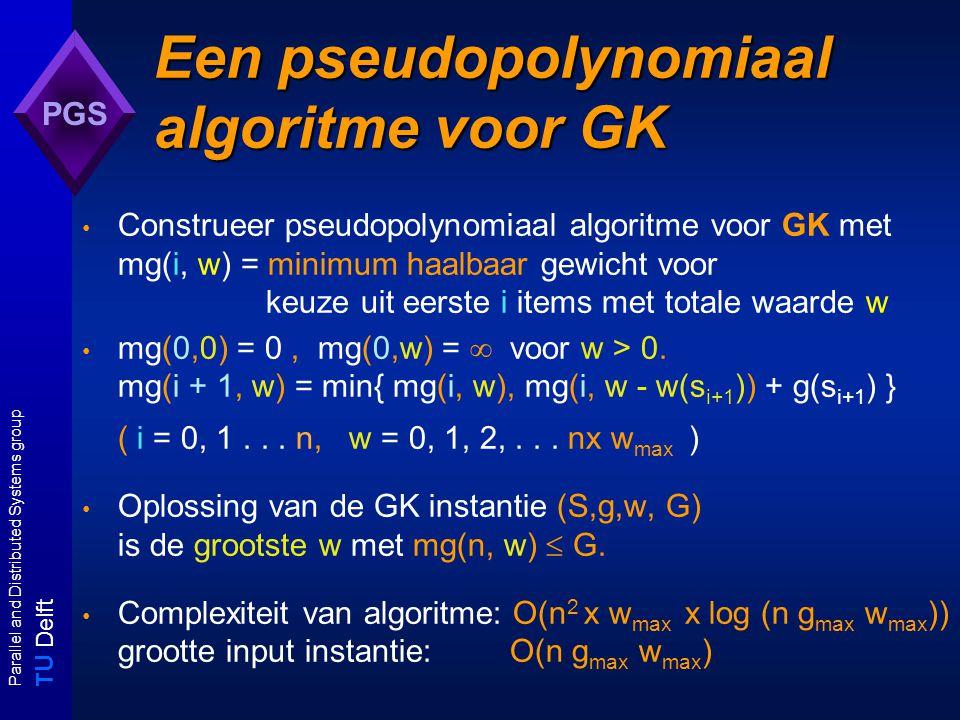 T U Delft Parallel and Distributed Systems group PGS Een pseudopolynomiaal algoritme voor GK Construeer pseudopolynomiaal algoritme voor GK met mg(i, w) = minimum haalbaar gewicht voor keuze uit eerste i items met totale waarde w mg(0,0) = 0, mg(0,w) =  voor w > 0.