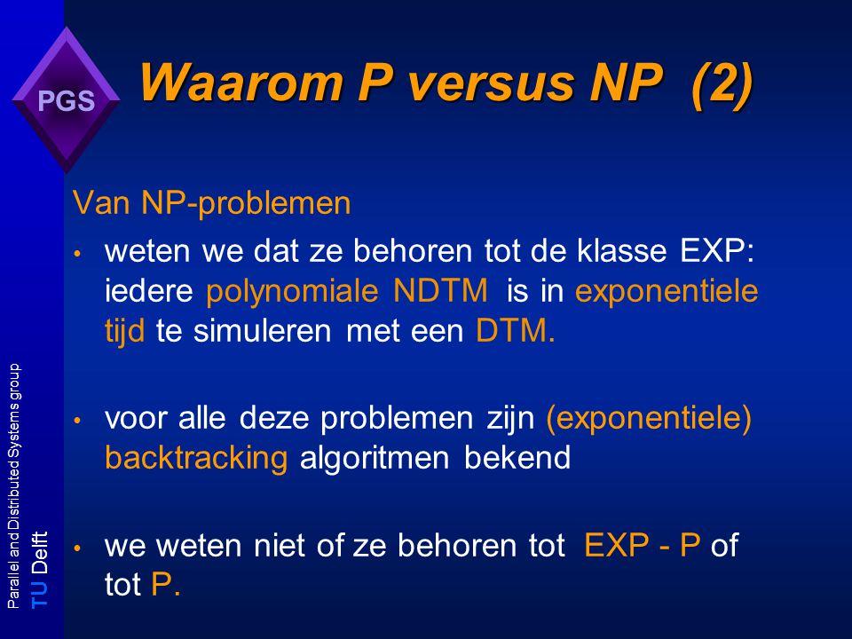 T U Delft Parallel and Distributed Systems group PGS Waarom NPC belangrijk.